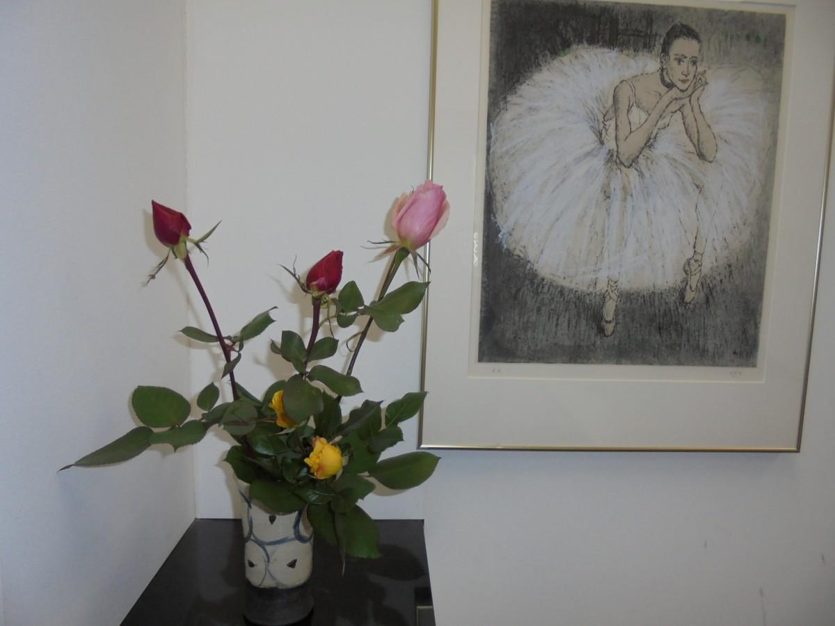◇今週のお花◇ 相談役のバラ&受付の桜
